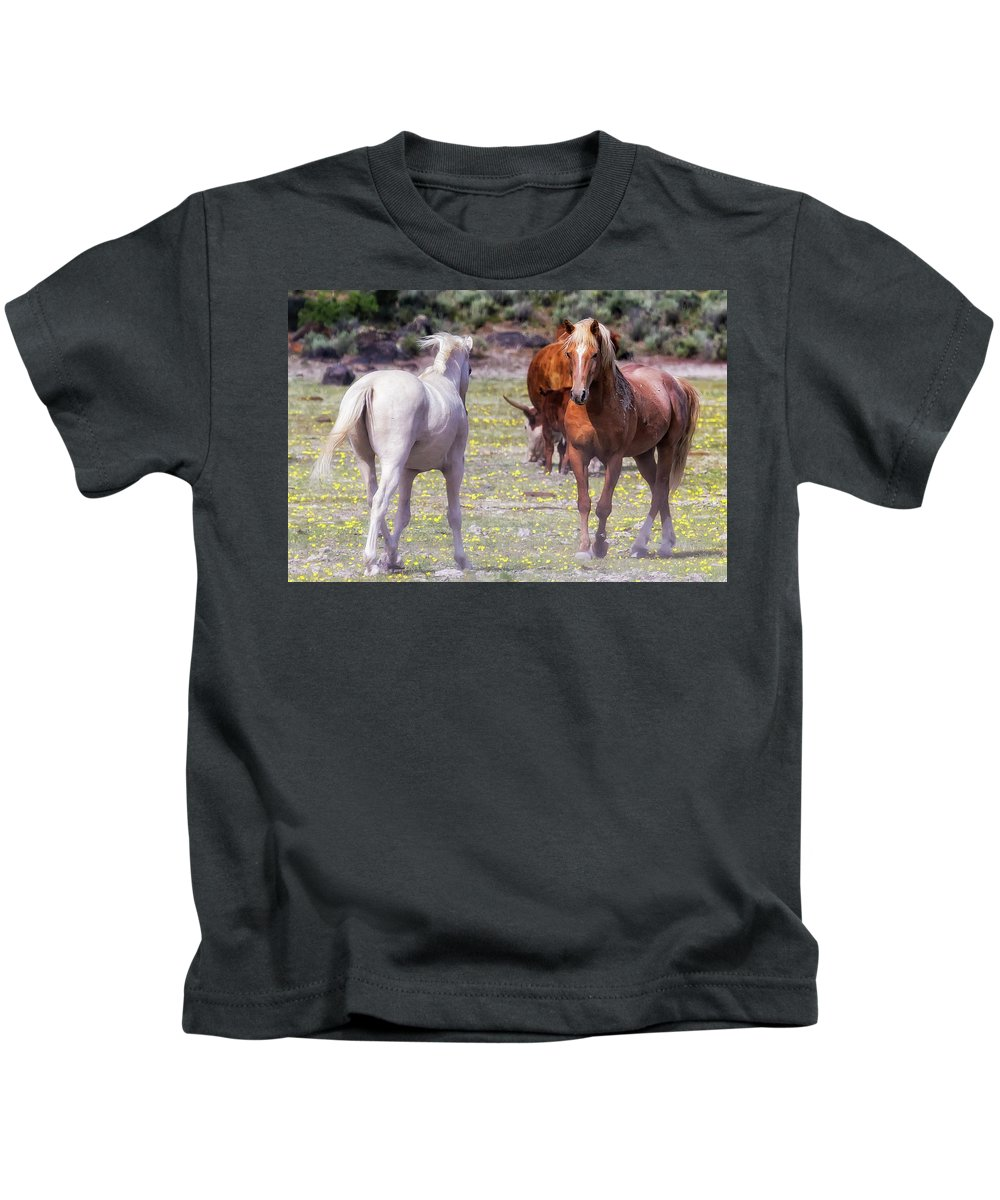 Wildhorses Kids T-Shirt featuring the photograph Confrontation by Belinda Greb