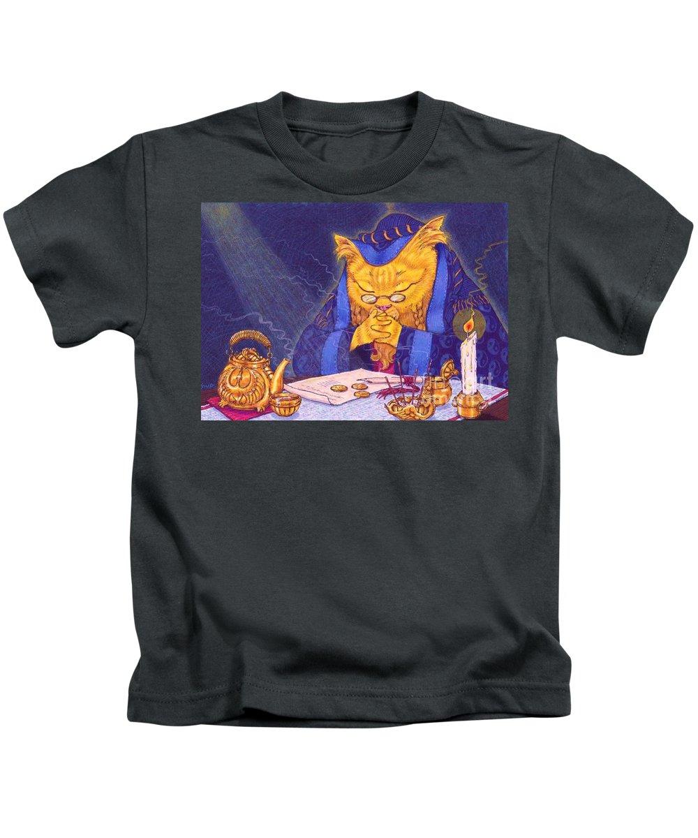 Cat Kids T-Shirt featuring the painting Contemplation by Sin D Piantek