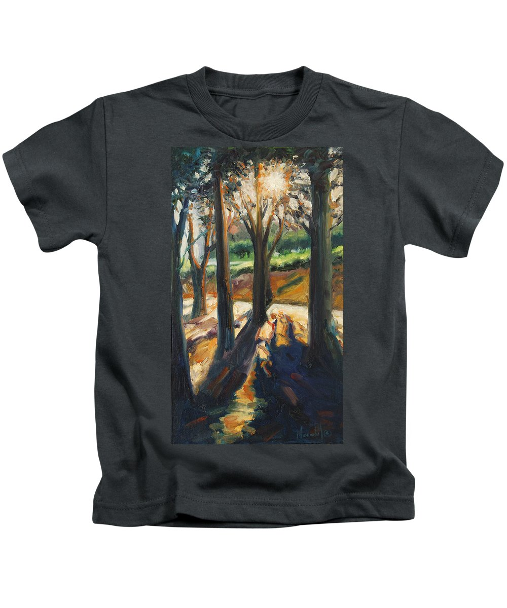 Trees Kids T-Shirt featuring the painting Contrast by Rick Nederlof