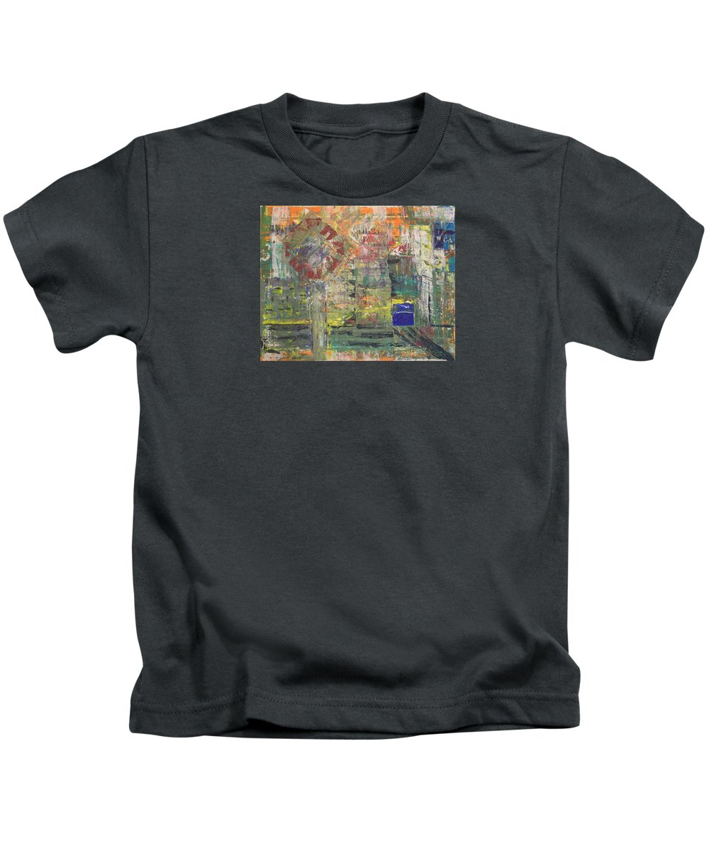 Abstract Painting Kids T-Shirt featuring the painting Corner Deli by J R Seymour