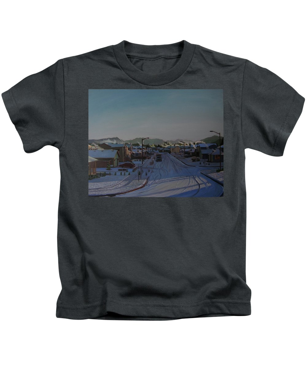 Winter Landscape Kids T-Shirt featuring the painting Corner Of 157th St. And 168th Ave. by Thu Nguyen