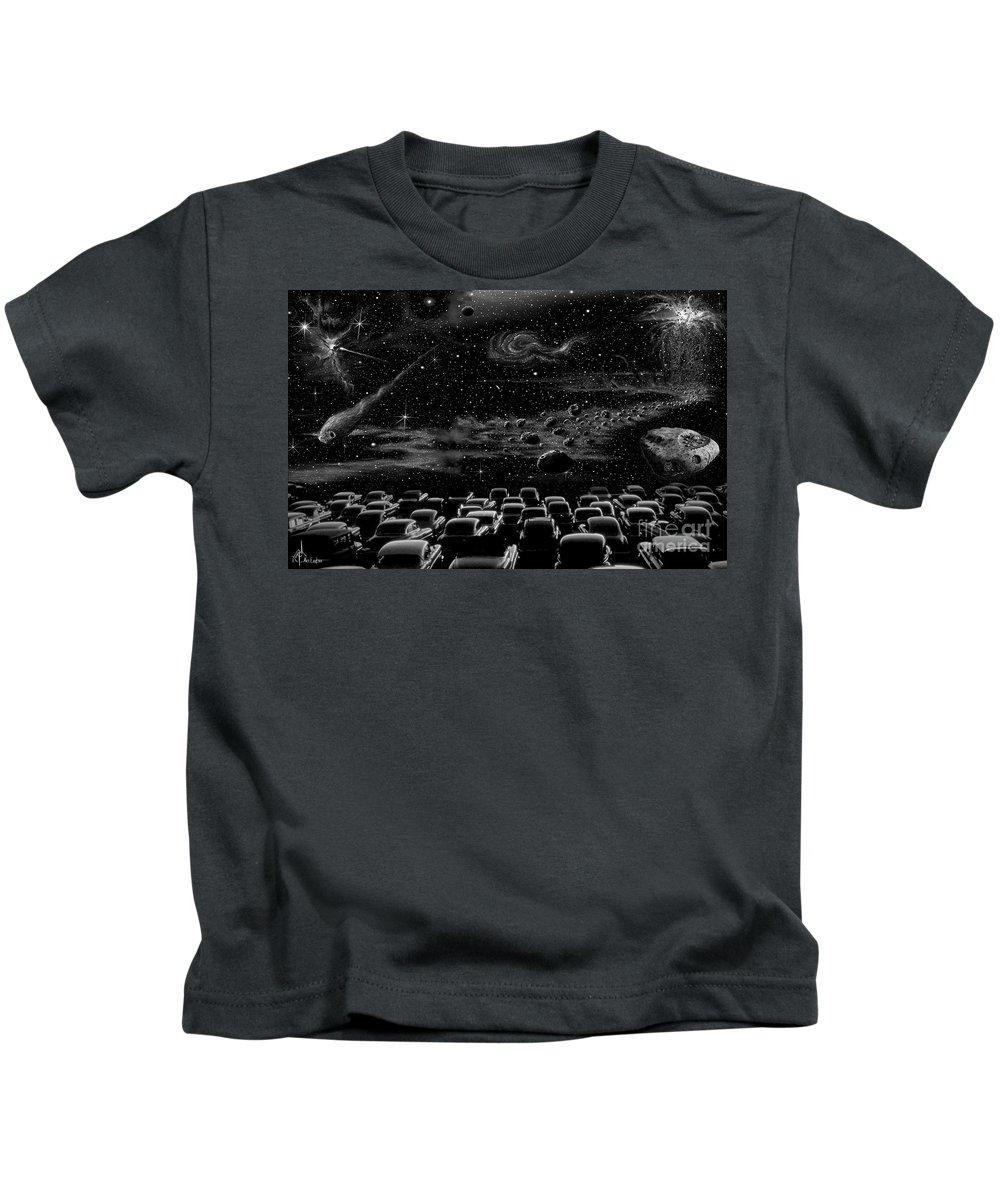 Pencil Kids T-Shirt featuring the drawing Cosmic Drive Inn by Murphy Elliott