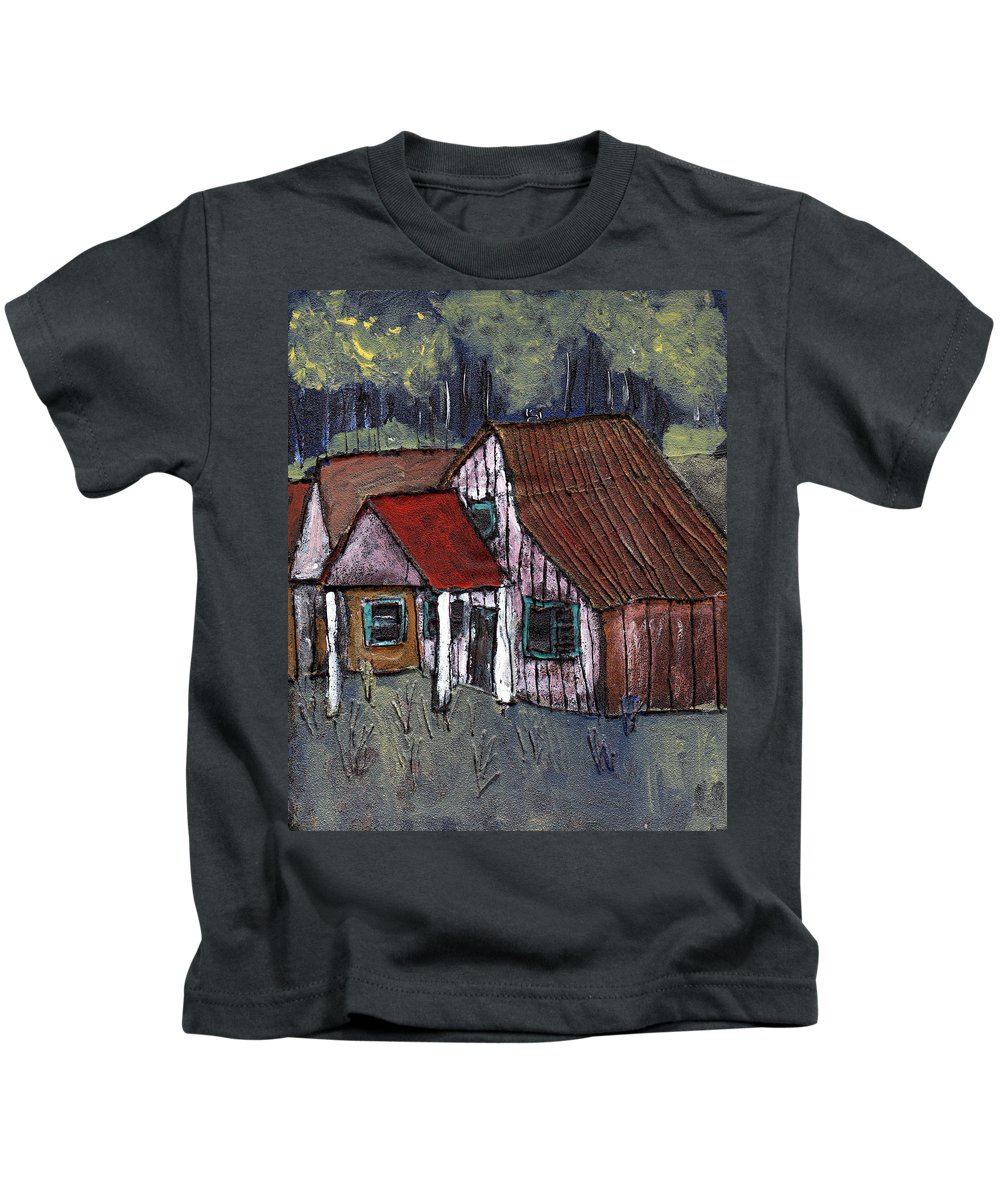 Cottage Kids T-Shirt featuring the painting Cottage In The Woods by Wayne Potrafka