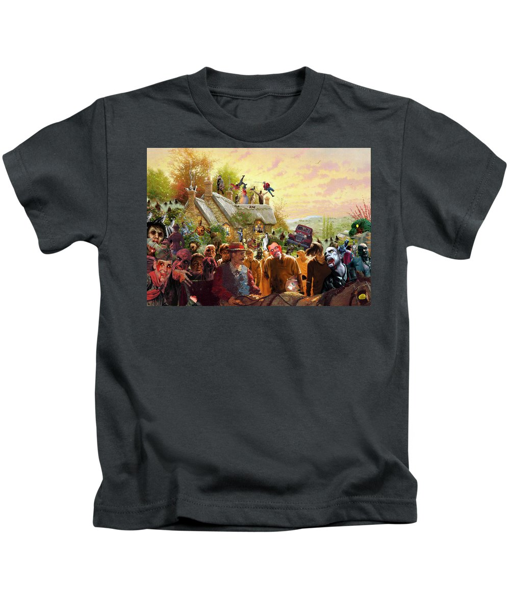 Kinkade Kids T-Shirt featuring the digital art Cottage Of The Living Dead by Barry Kite