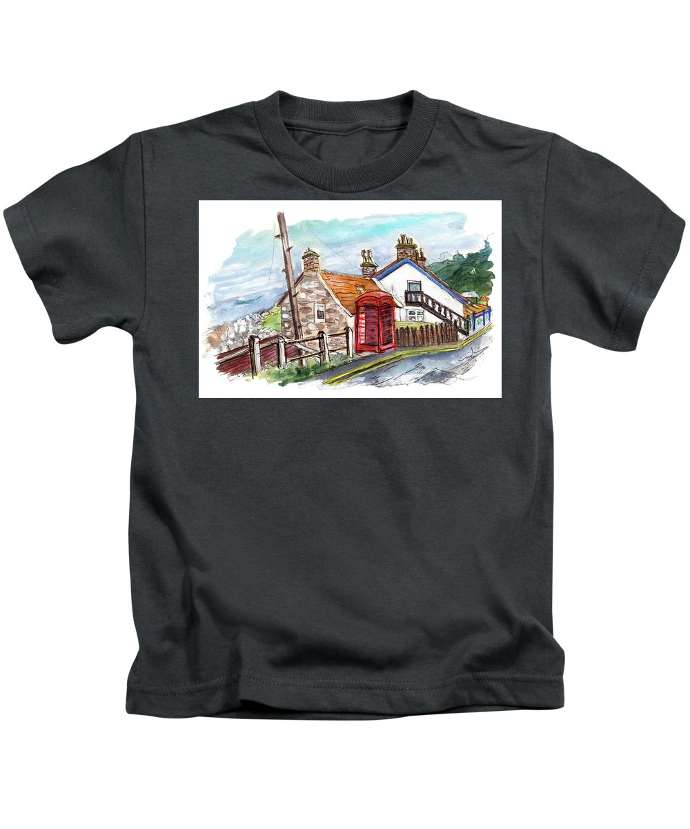 Travel Kids T-Shirt featuring the painting Cottages In Runswick Bay by Miki De Goodaboom