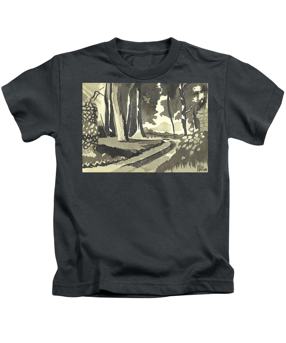 Rural Kids T-Shirt featuring the painting Country Lane In Evening Shadow by Kip DeVore