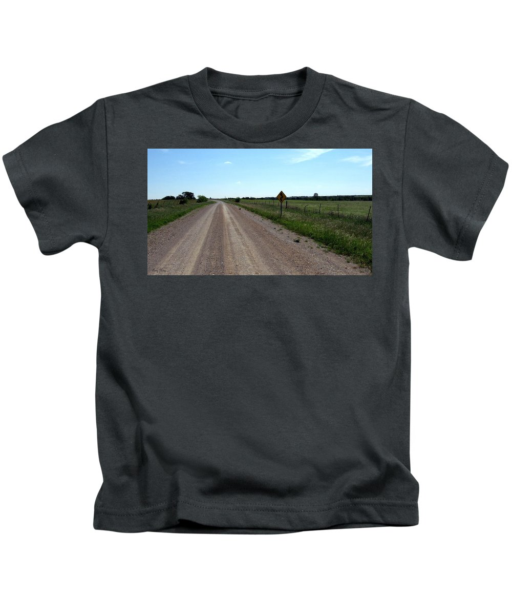 Texas Back Roads Kids T-Shirt featuring the photograph Country Roads by Amy Hosp