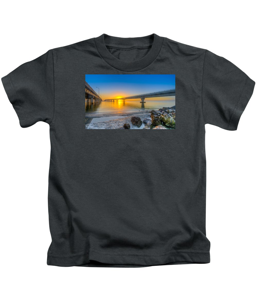 Courtney Campbell Causeway Kids T-Shirt featuring the photograph Courtney Campbell Bridge Sunrise - Tampa, Florida by Lance Raab