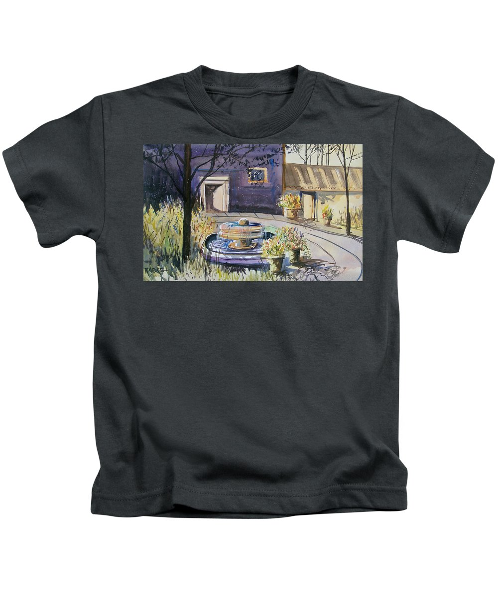 Watercolor Kids T-Shirt featuring the painting Courtyard In The Morning by Ryan Radke