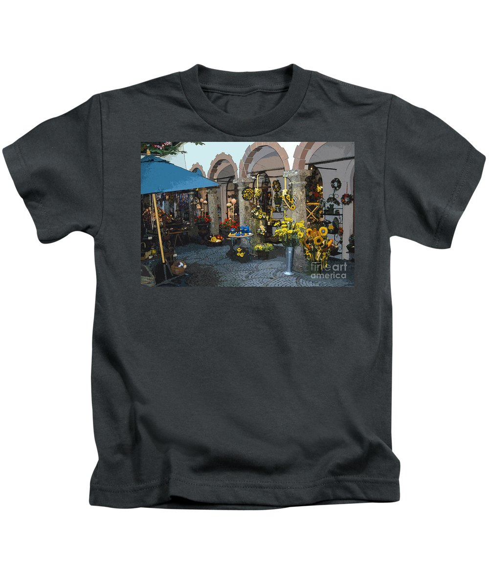 Salzburg Austria Flower Flowers City Cities Cityscape Cityscapes Shop Shops Courtyard Courtyards Store Stores Digital Art Kids T-Shirt featuring the photograph Courtyard Shop by Bob Phillips