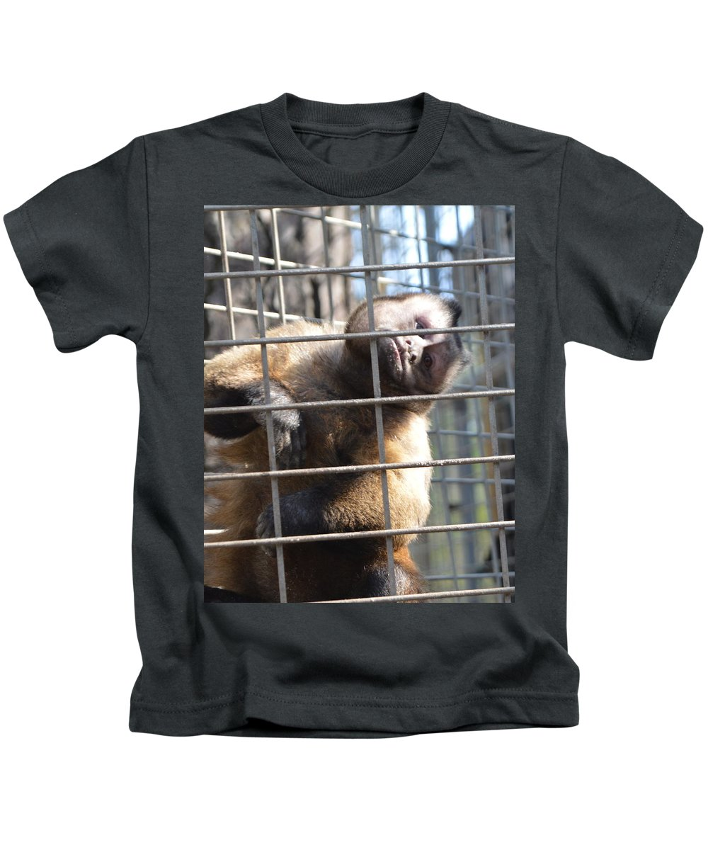 Monkey. Face Kids T-Shirt featuring the photograph Cousin by Judith Morris