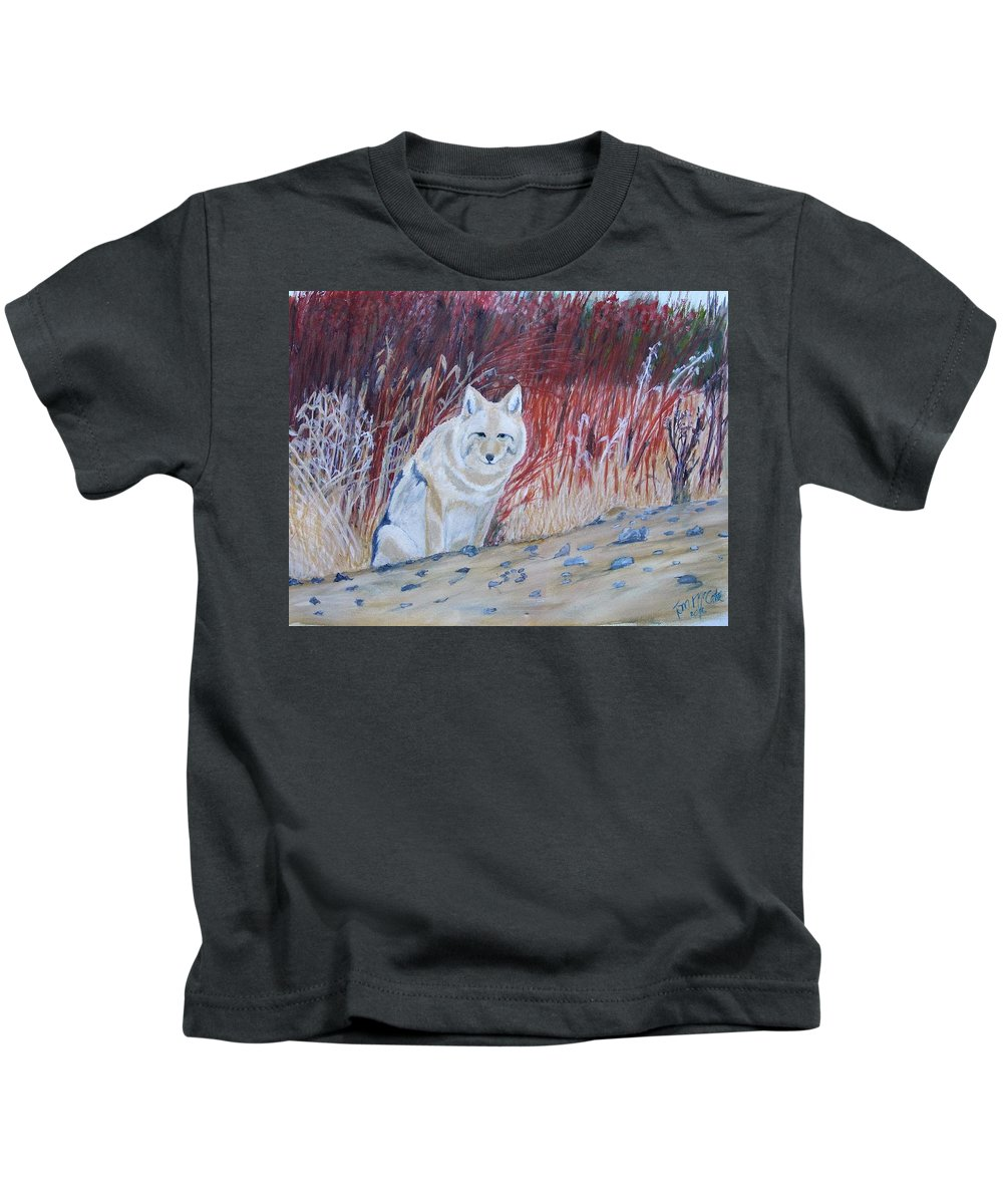 Wildlife Kids T-Shirt featuring the painting Coyote by Thomas McCaskie