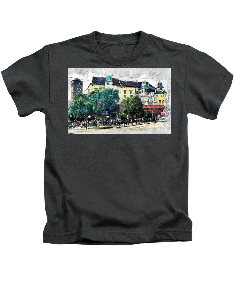 Cracow Kids T-Shirt featuring the digital art Cracow Art 2 Wawel by Justyna JBJart