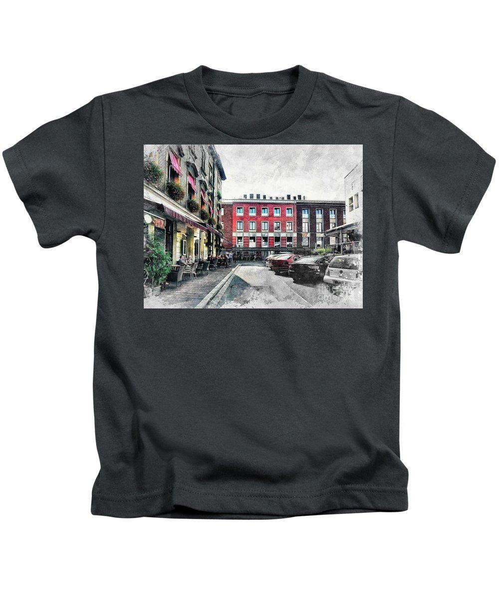 Cracow Kids T-Shirt featuring the digital art Cracow Art 4 Kazimierz by Justyna JBJart