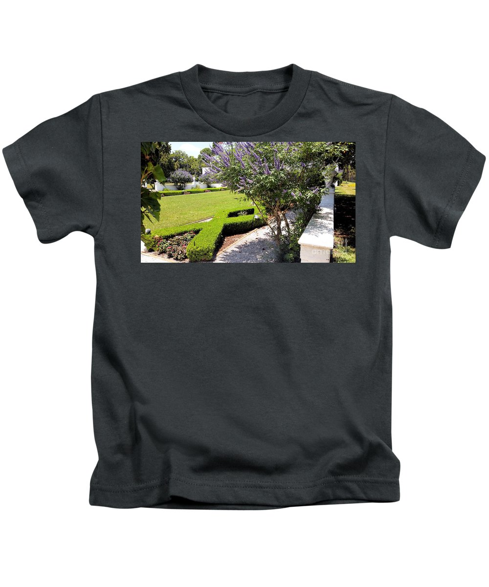 Crane Cottage Kids T-Shirt featuring the photograph Crane Cottage Garden In Spring by Katherine W Morse