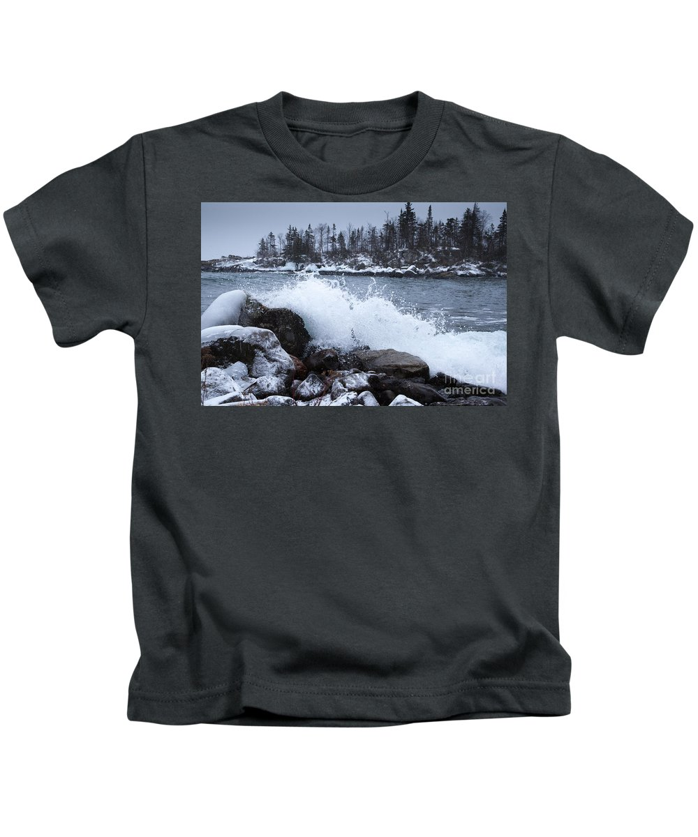 Lake Superior Kids T-Shirt featuring the photograph Crash by Donna Crider