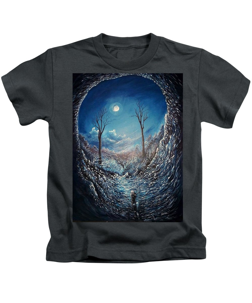 Moon Kids T-Shirt featuring the painting Crawling Out by Monika Bickei