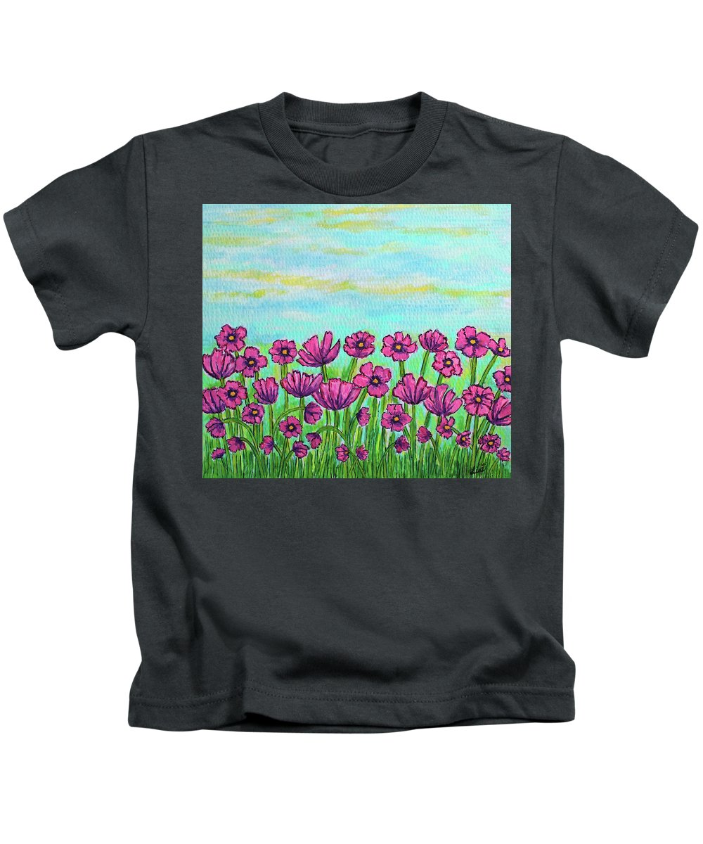 Cosmos Kids T-Shirt featuring the painting Crazy for Cosmos by Lisa Lorenz
