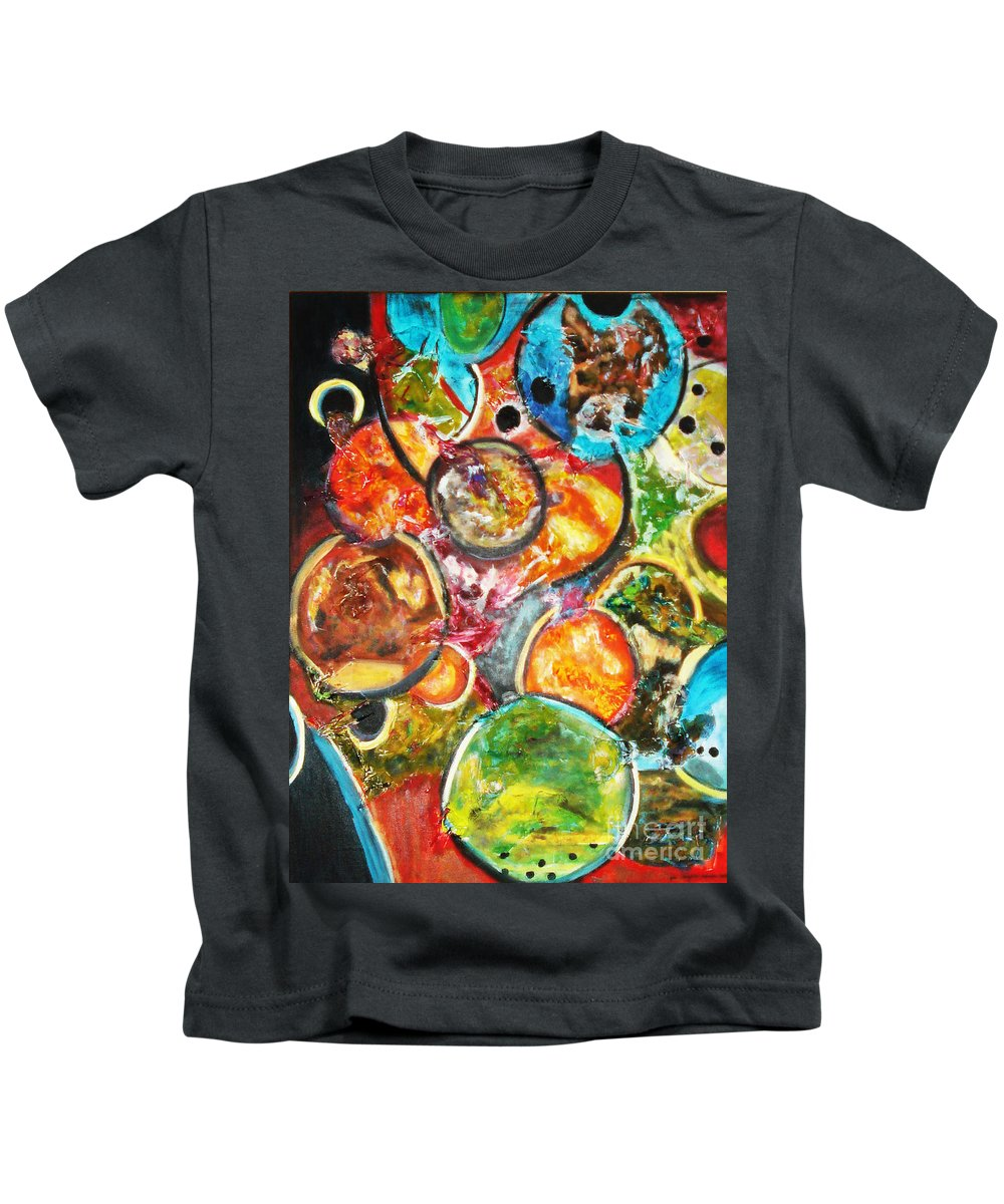 Acrylic Painting Kids T-Shirt featuring the painting Creative by Yael VanGruber
