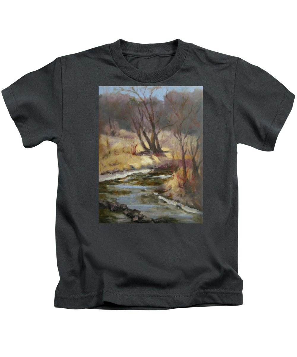Plein Air Landscape Kids T-Shirt featuring the painting Credit River by Patricia Kness