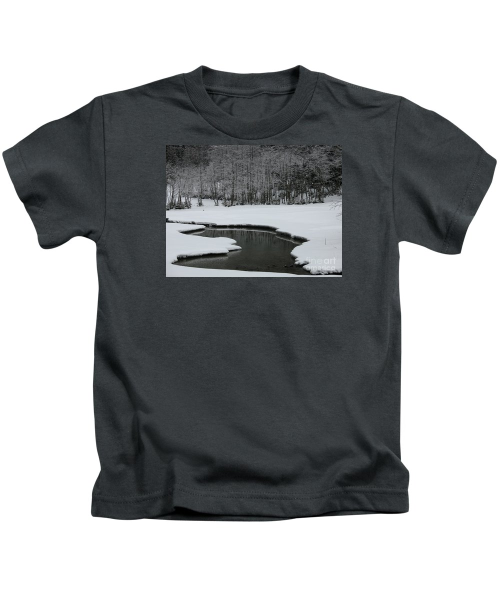 Creek Kids T-Shirt featuring the photograph Creek In Snowy Landscape by Christiane Schulze Art And Photography