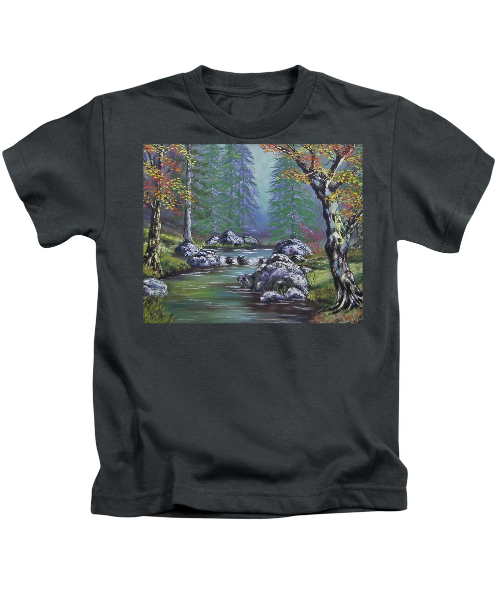 Creek Kids T-Shirt featuring the painting Creek In The Woods by Cathy Shepard