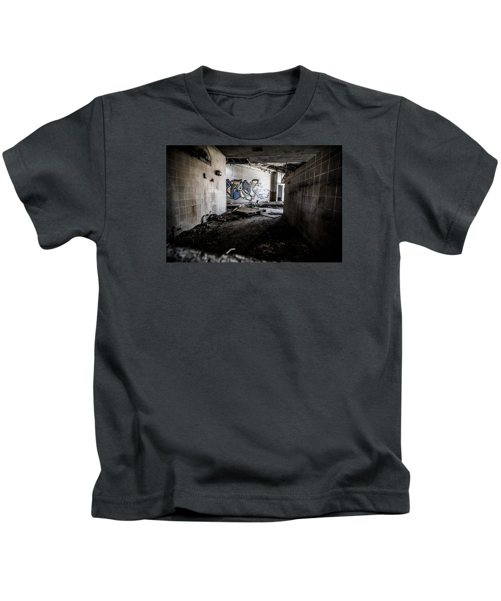 Abandoned Kids T-Shirt featuring the photograph Creepy Hallway by Mike Dunn