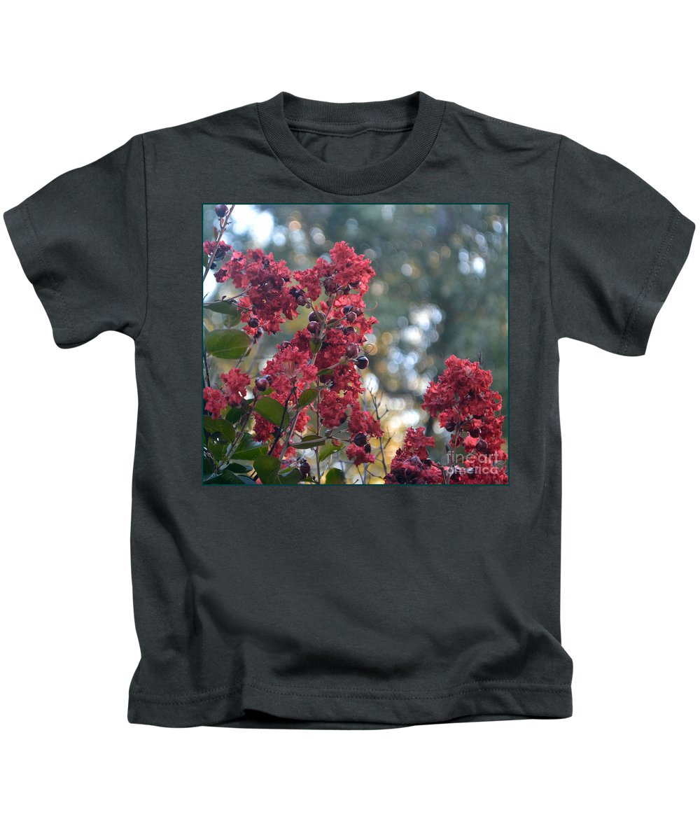 Crepe Myrtle Tree Kids T-Shirt featuring the photograph Crepe Myrtle Tree Blossoms by Luv Photography