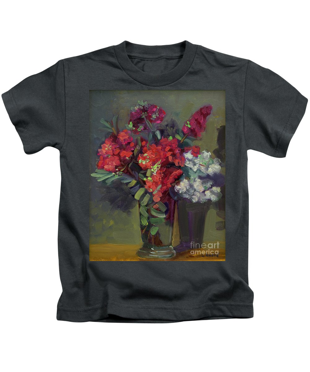 Floral Kids T-Shirt featuring the painting Crepe Myrtles In Glass by Lilibeth Andre