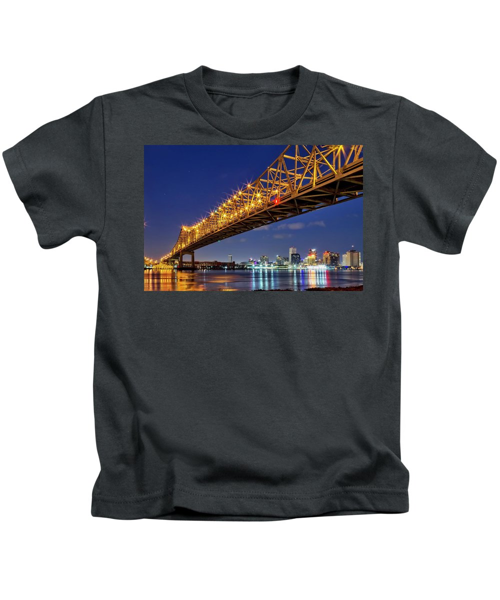 New Orleans Kids T-Shirt featuring the photograph Crescent City Bridge, New Orleans, Version 2 by Kay Brewer
