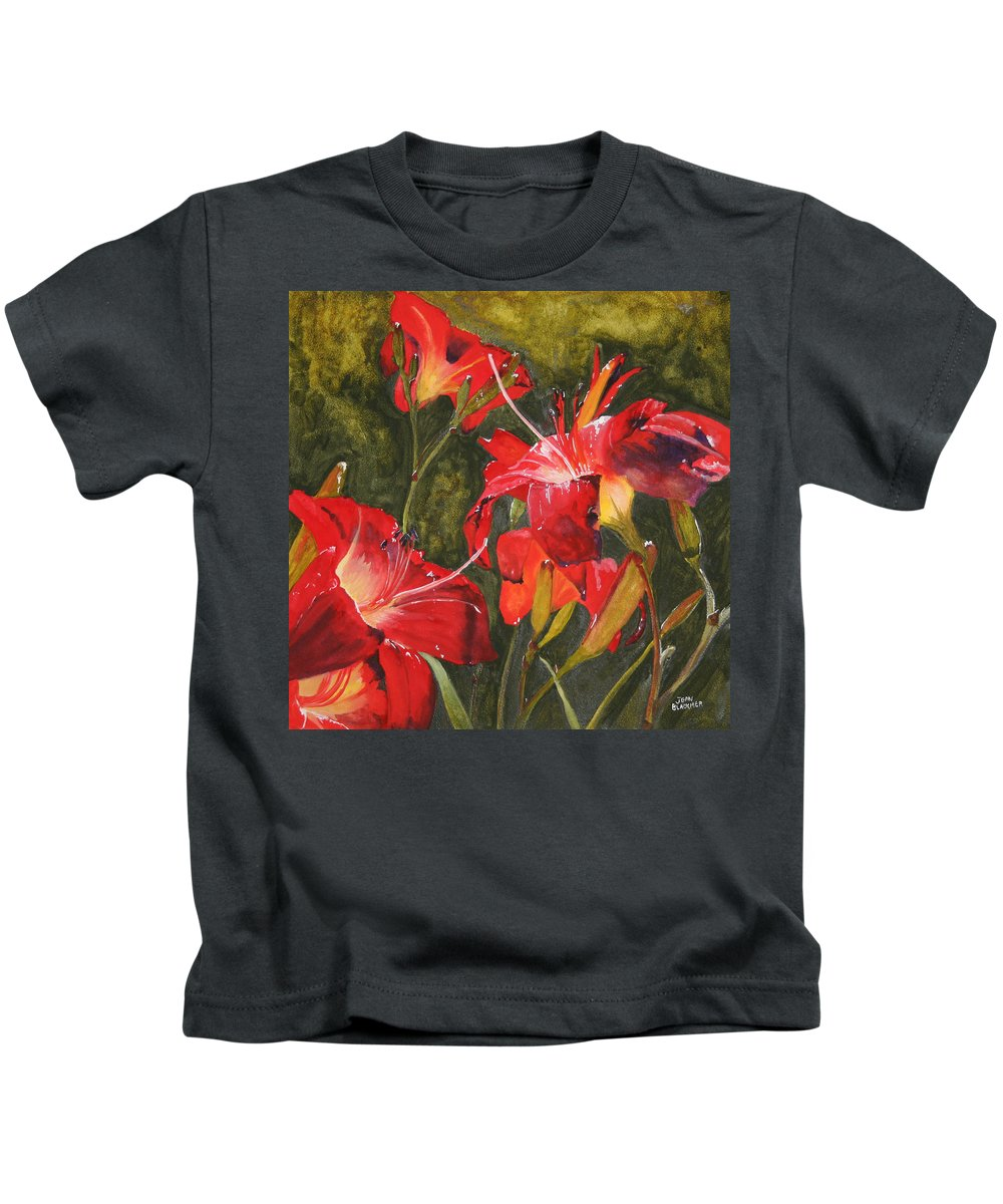 Red Kids T-Shirt featuring the painting Crimson Light by Jean Blackmer