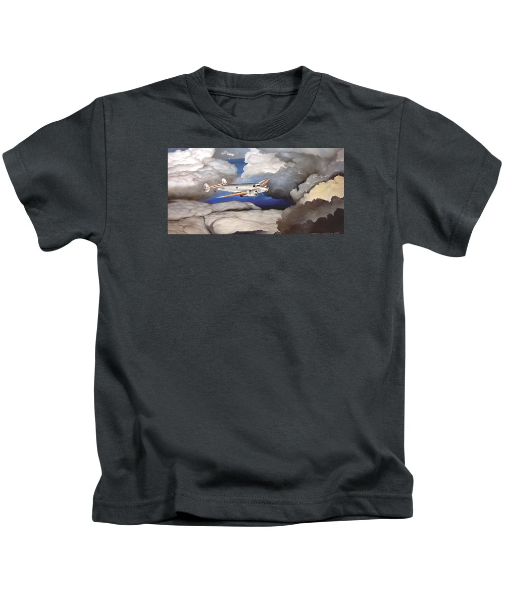 Aviation Kids T-Shirt featuring the painting Crossing Over Amelia Earharts Final Flight by Marc Stewart