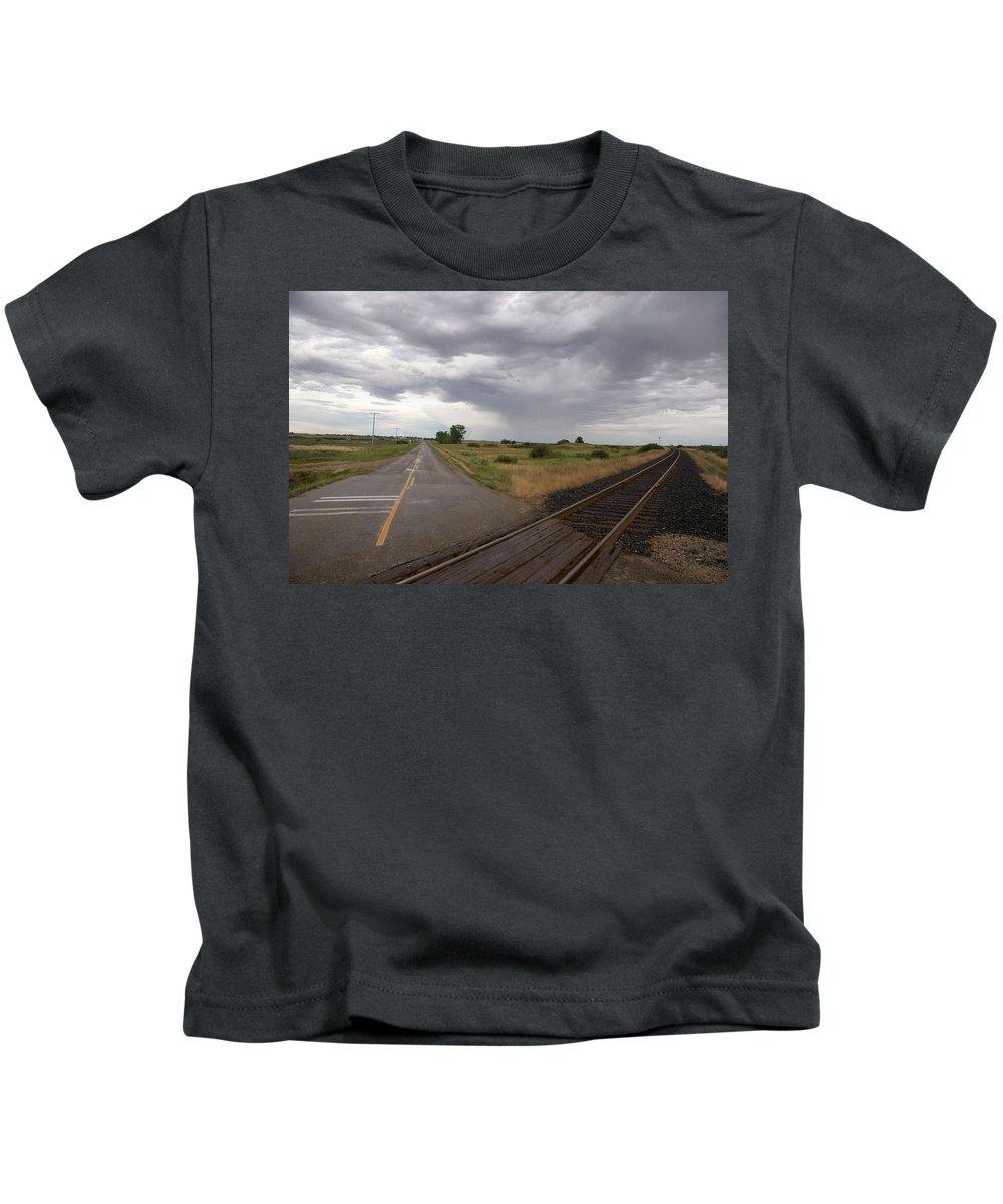 Landscape Kids T-Shirt featuring the photograph Crossroads by Deanna Paull