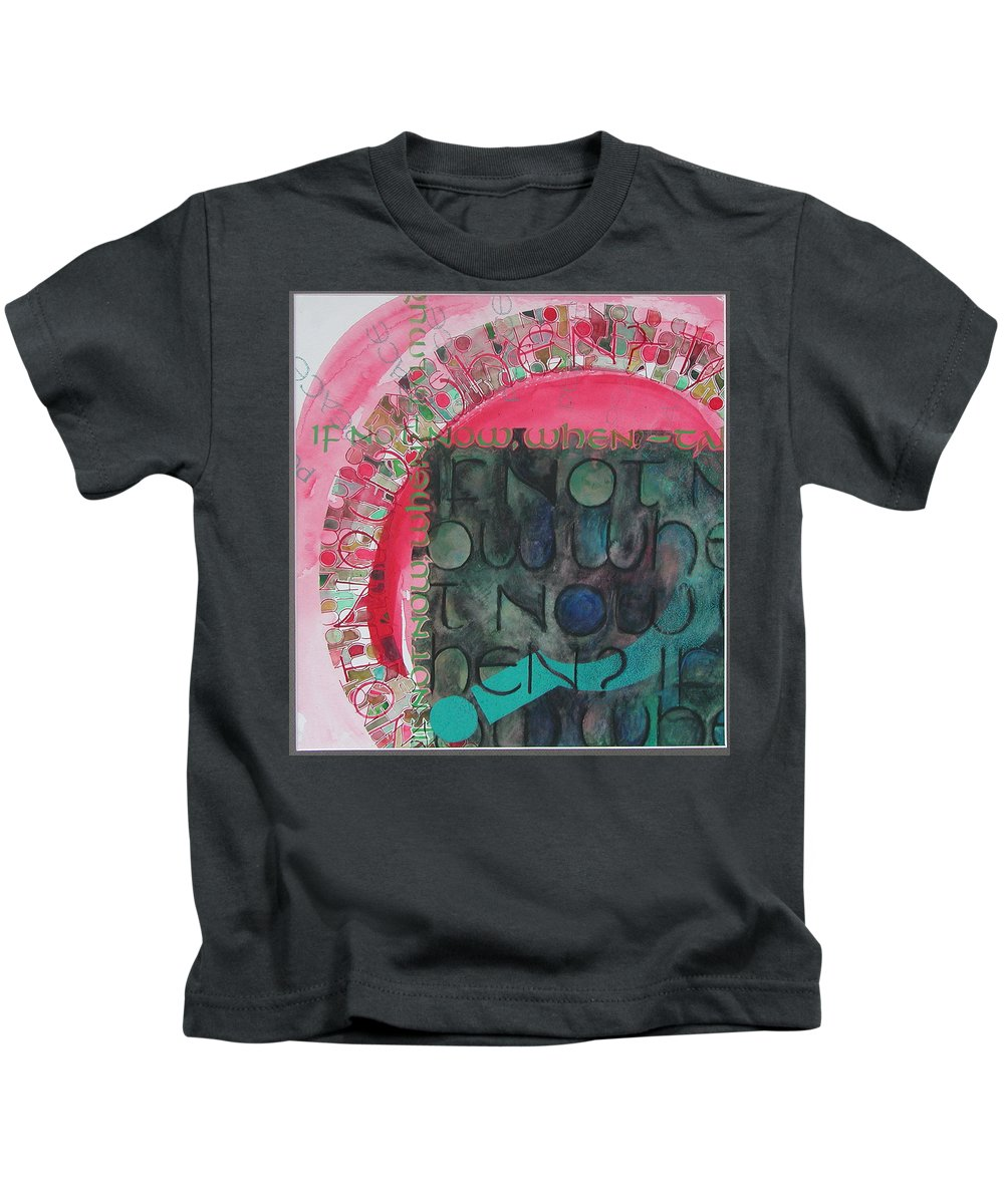 Calligraphy Kids T-Shirt featuring the painting Crossroads...again by Sid Freeman
