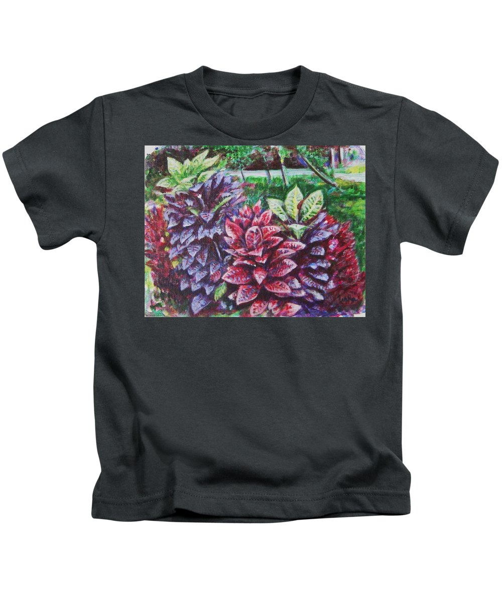 Landscape Kids T-Shirt featuring the painting Crotons 1 by Usha Shantharam