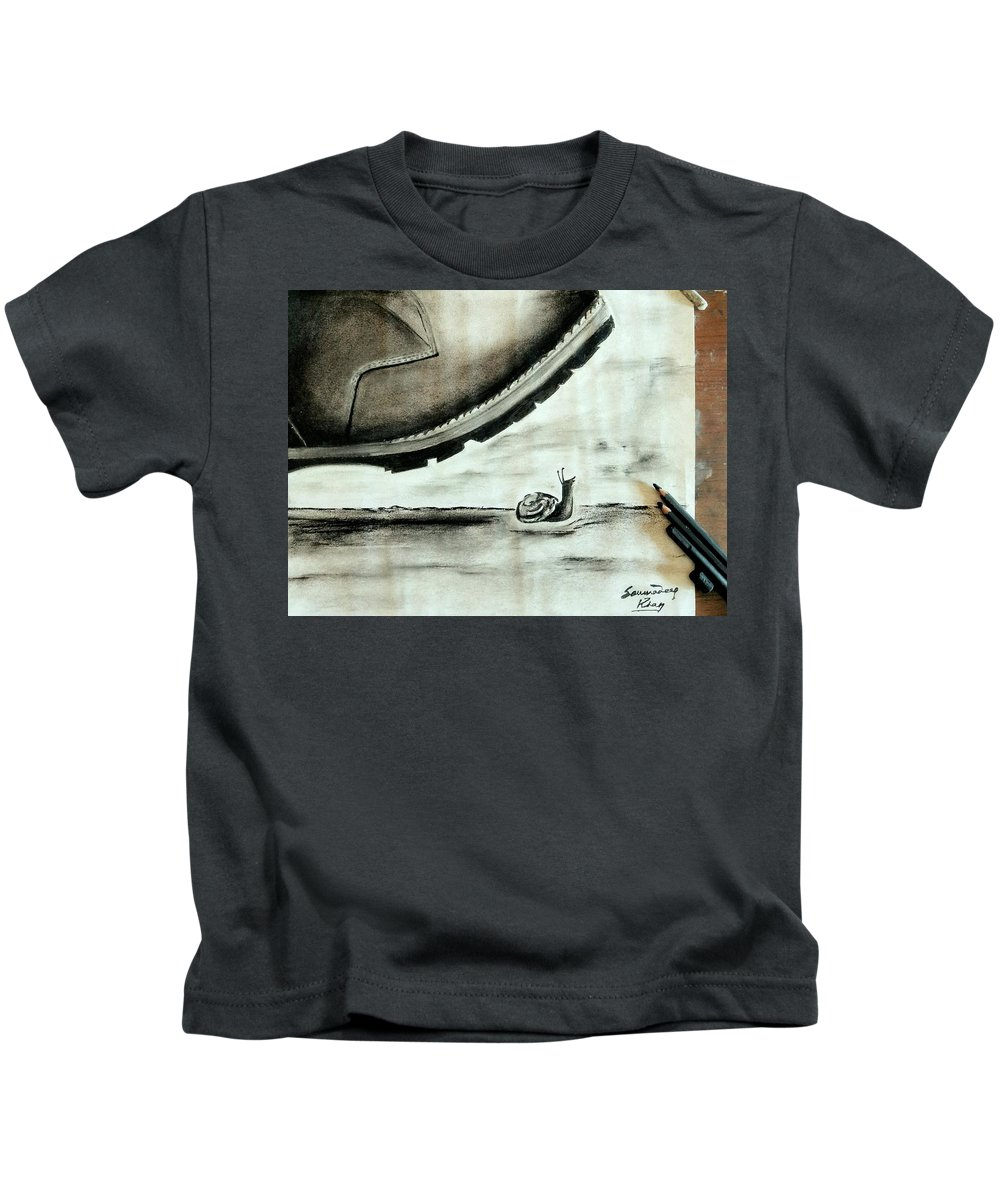 Object Kids T-Shirt featuring the drawing Crushed By by Soumadeep Khan
