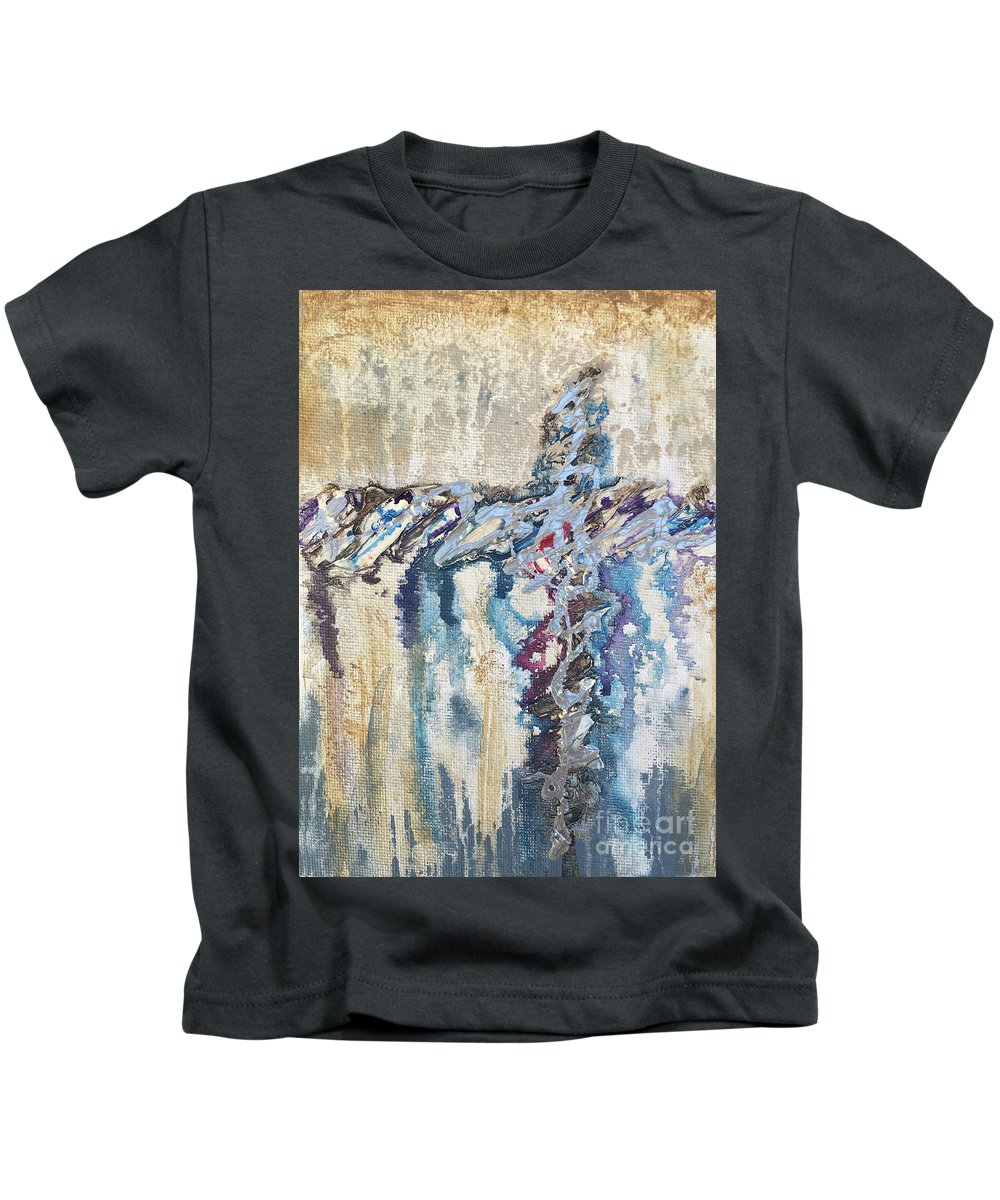 Abstract Kids T-Shirt featuring the painting Crux 8 by Linda Cranston