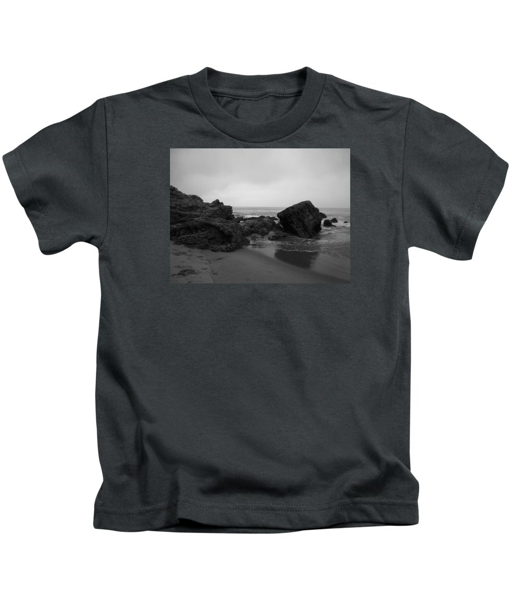 Crystal Cove Kids T-Shirt featuring the photograph Crystal Cove Rocks by Pamela Newcomb