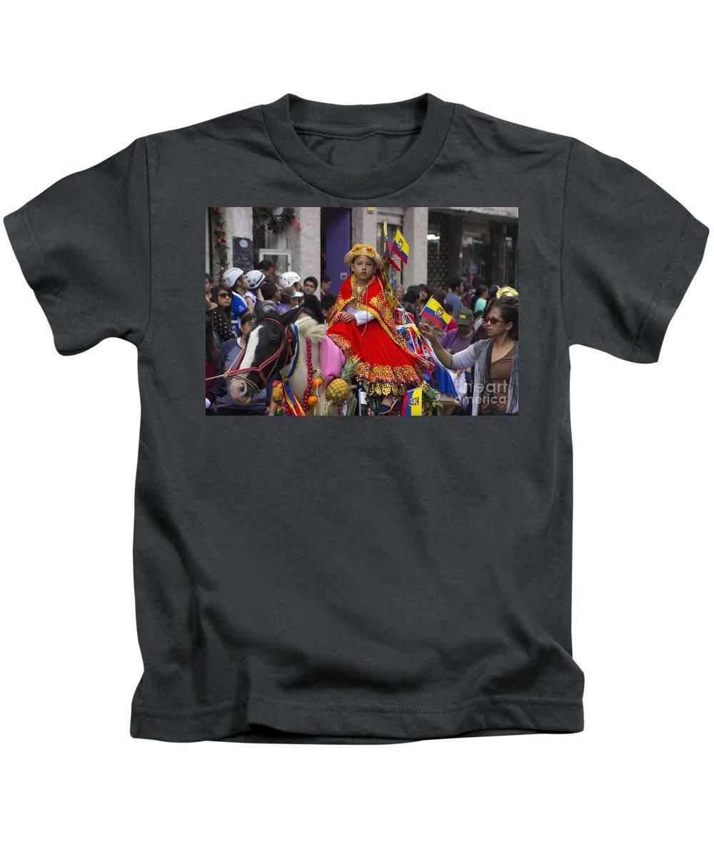 Girl Kids T-Shirt featuring the photograph Cuenca Kids 719 by Al Bourassa