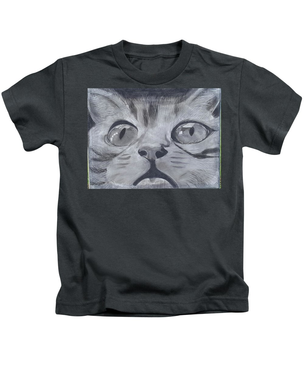 Cat Kids T-Shirt featuring the drawing Curious Eyes by Tana Coleman