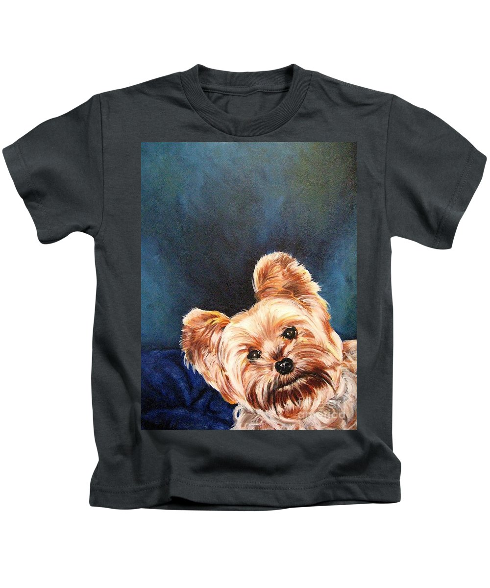 Animals Kids T-Shirt featuring the painting Curious Yorkie by Holger Majorahn
