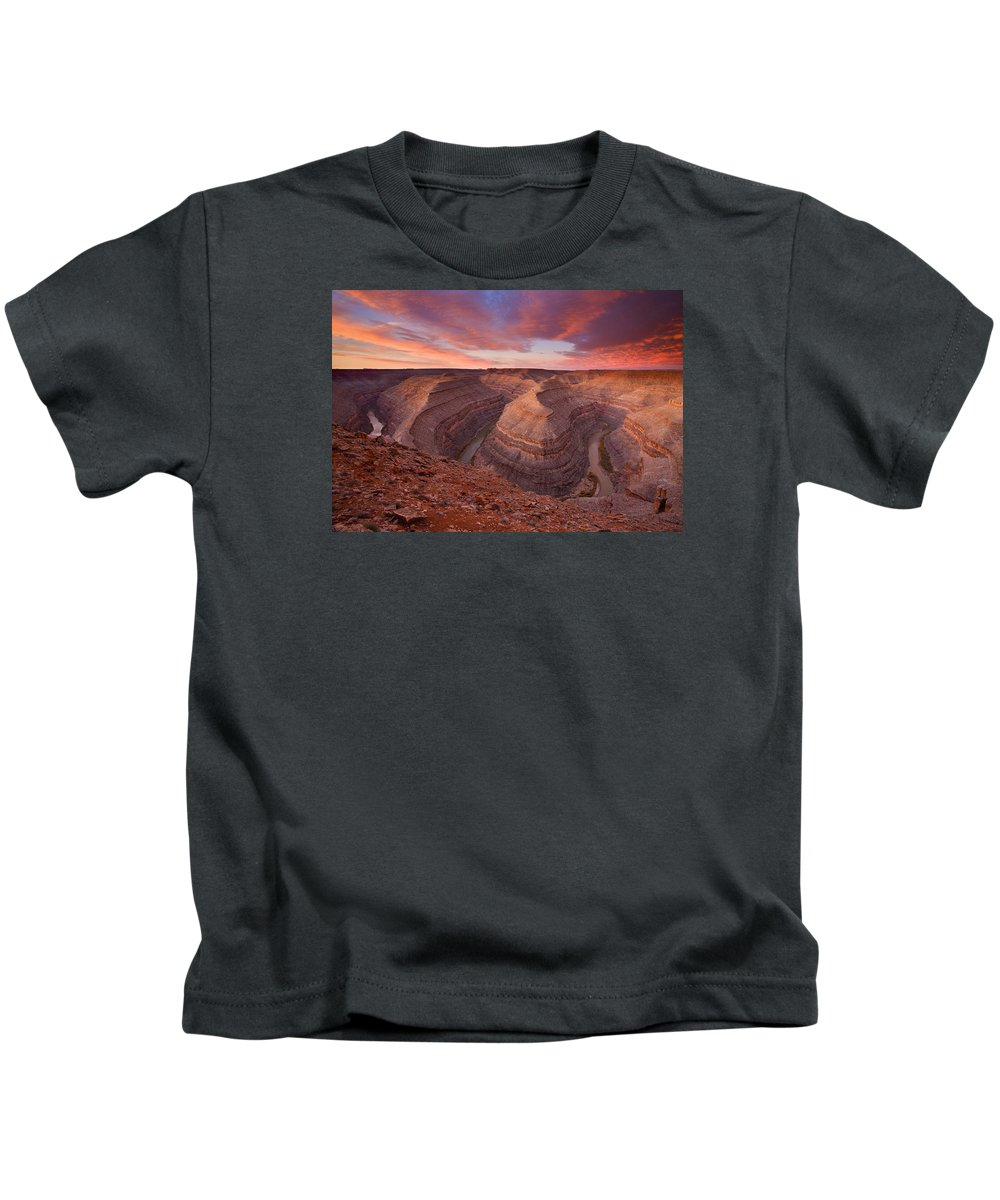 Canyon Kids T-Shirt featuring the photograph Curves Ahead by Mike Dawson