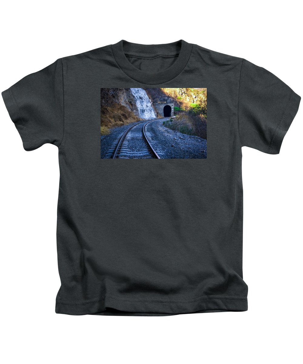 Curves Kids T-Shirt featuring the photograph Curves On The Railways At The Entrance Of The Tunnel by Jorge Murguia