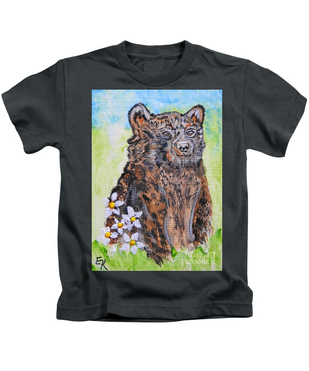 Black Bear Kids T-Shirt featuring the painting Cute Baby Black Bear Art by Ella Kaye Dickey