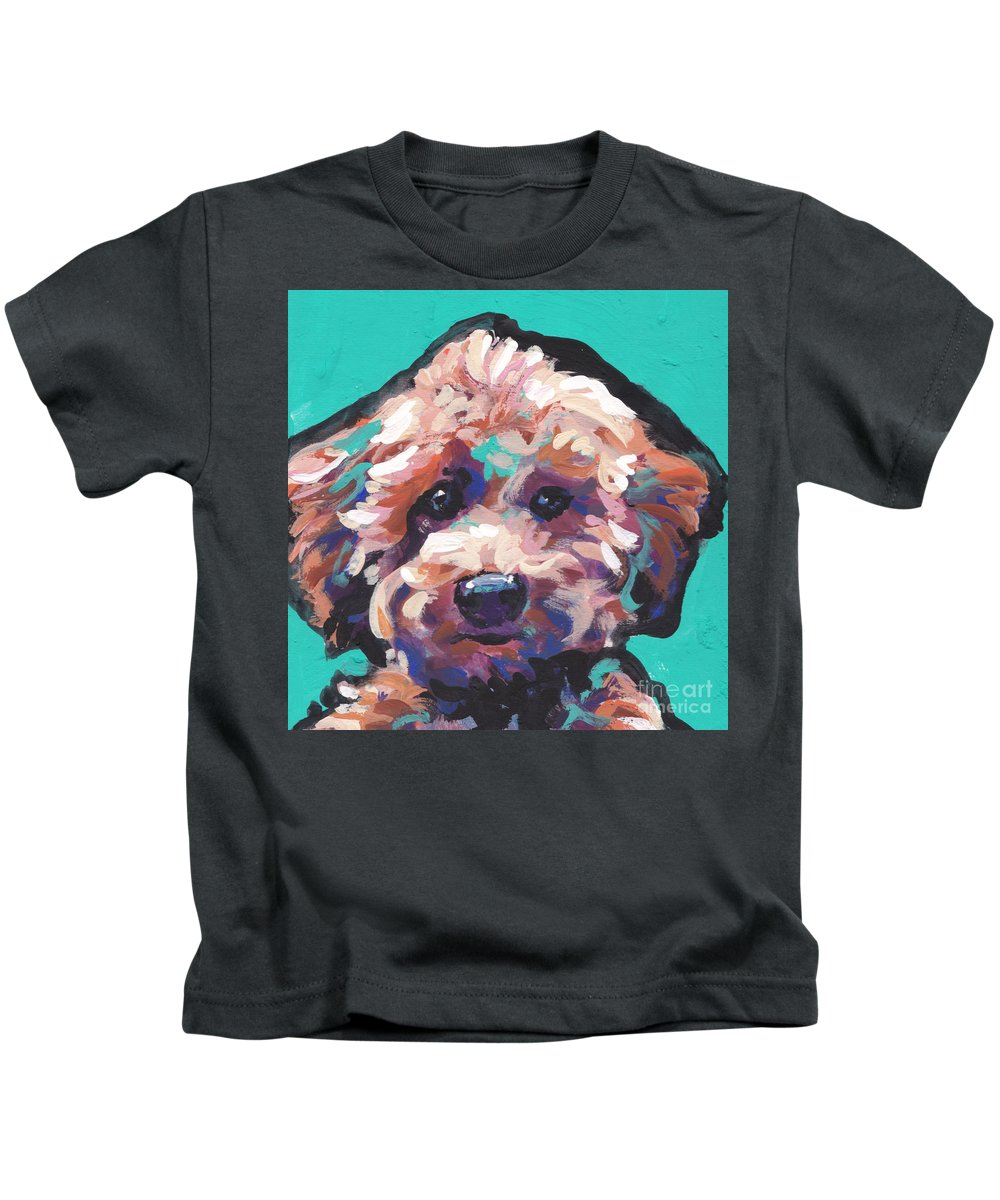 Poodle Kids T-Shirt featuring the painting Cutey Poo by Lea S