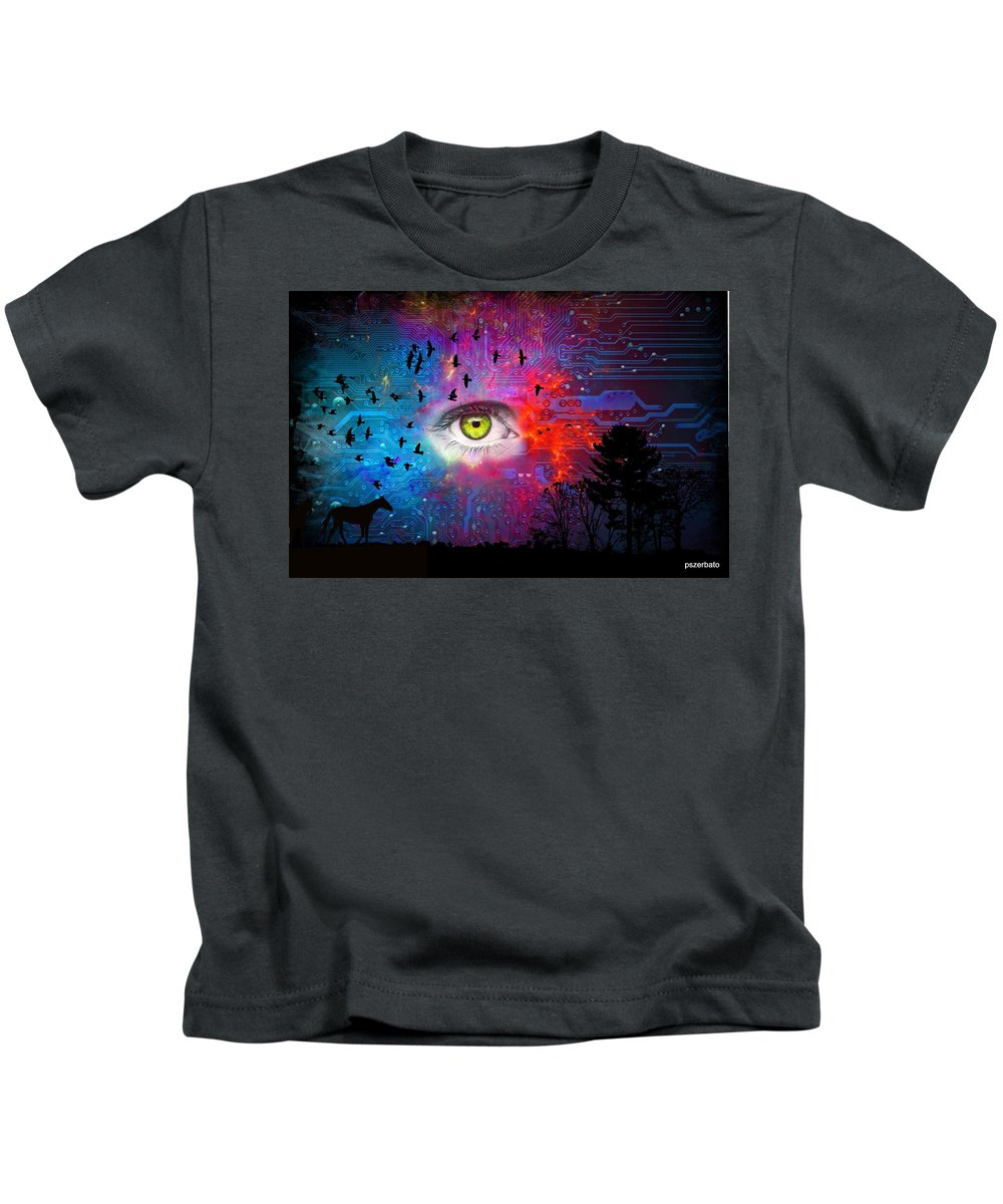 Abstraction Kids T-Shirt featuring the digital art Cyber Nature by Paulo Zerbato