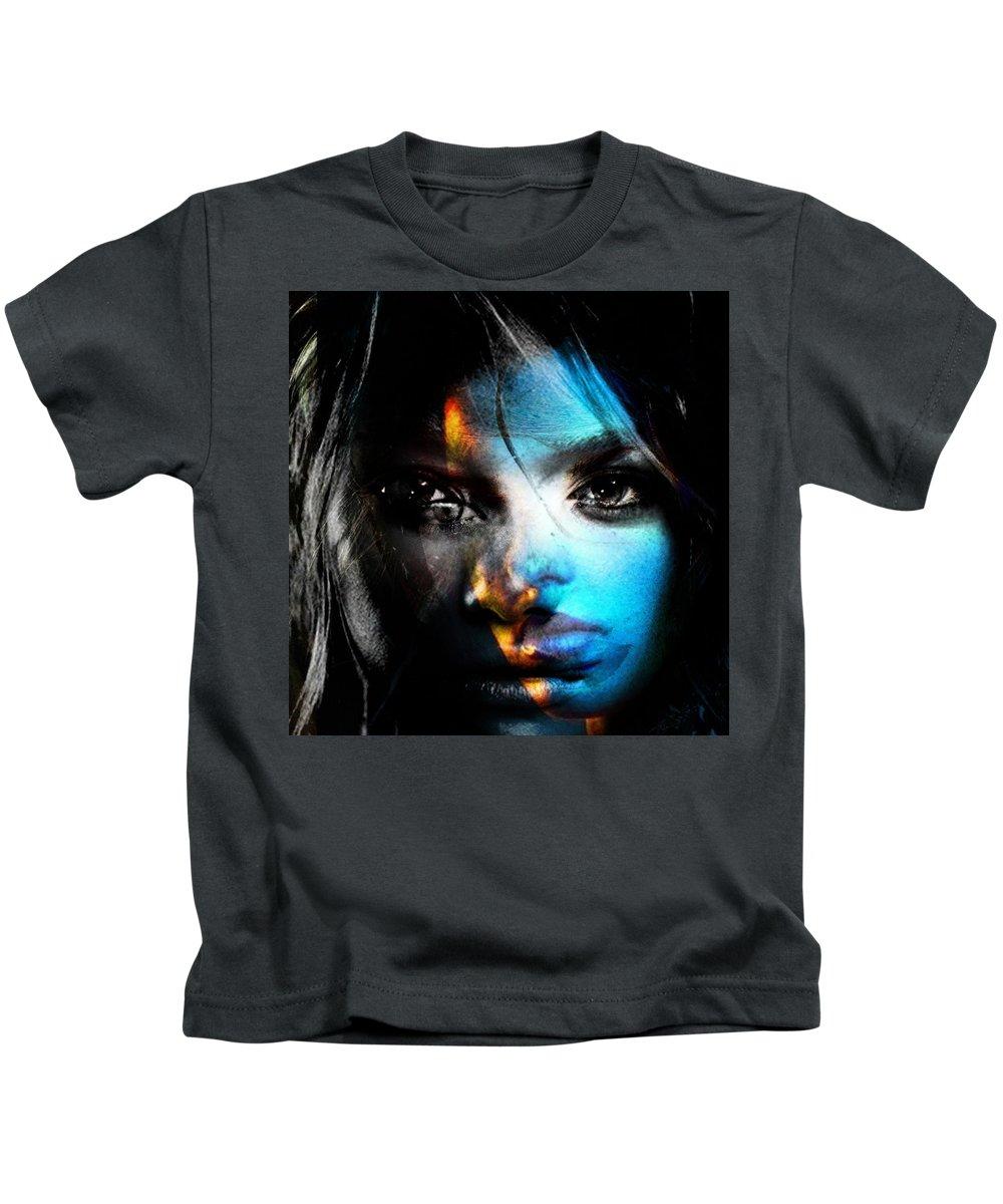 Kids T-Shirt featuring the painting Cynthia Joy Of Life by Maciej Mackiewicz