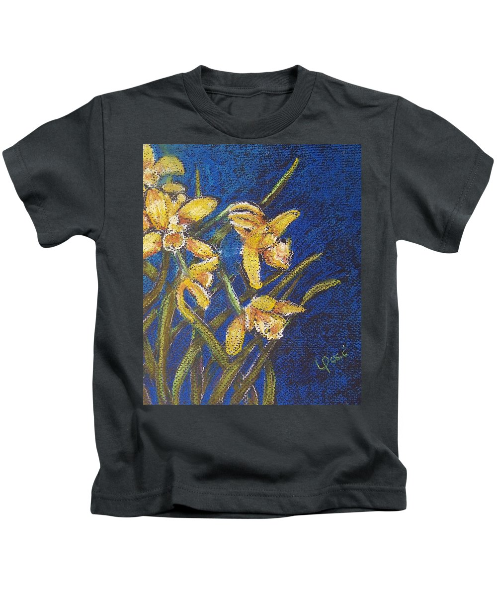 Daffodils Kids T-Shirt featuring the painting Daffodils by Laurie Paci