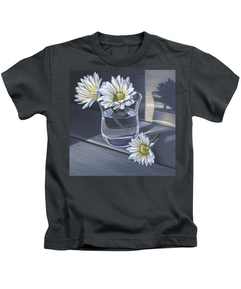 Daisy Kids T-Shirt featuring the painting Daisies In Drinking Glass No. 2 by Steven Tetlow