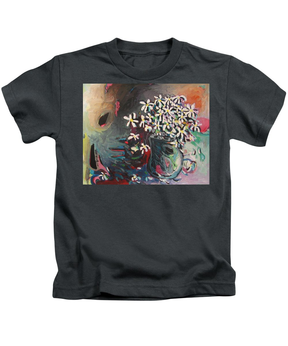 Daisy Paintings Kids T-Shirt featuring the painting Daisy In Vase by Seon-Jeong Kim